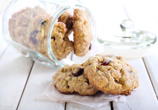 Oat, cranberry wholemeal cookies Stock Photo