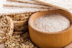 Oat dietary products. Various dietary oat products on wooden table Stock Photo