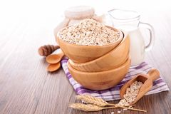 Oat flake, bowl of cereals Royalty Free Stock Photo
