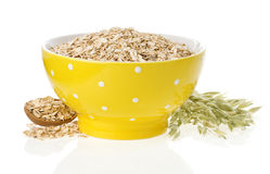 Oat flake in bowl and ears on white Royalty Free Stock Photos