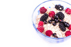 Oat flake porridge with fresh berries isolated Stock Image