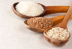 Oat flake, rice and buckwheat Royalty Free Stock Photos