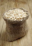 Oat flake in a sack Stock Photos