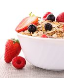 Oat flakes and berries. Bowl of oat flakes and berries Royalty Free Stock Image