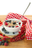 The oat flakes with berries. Isolated on white background Stock Image