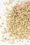 Oat flakes in bowl closeup.Top view stock images