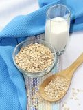 Oat flakes in bowl and milk Royalty Free Stock Photo