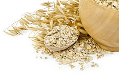 Oat flakes in a bowl and spoon Stock Images