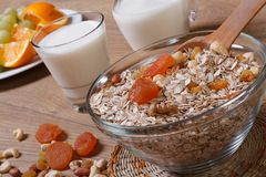 Oat flakes with dried fruit Royalty Free Stock Photo