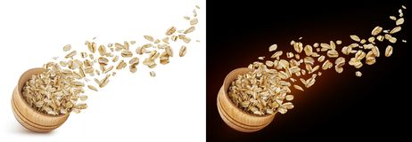 Free Oat Flakes Flying Out Of Wooden Bowl Isolated On White And Black Background Royalty Free Stock Photo - 140218315