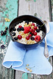Oat flakes with fresh berries Stock Photography