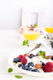 Oat flakes with fresh berries Stock Photo