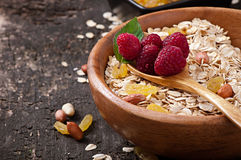 Oat flakes and fresh berries Royalty Free Stock Image