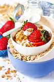 Oat flakes. Fresh breakfast. Oat flakes with yogurt and berries Royalty Free Stock Images