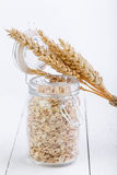 The oat flakes in glass jar and wheat. Stock Photo