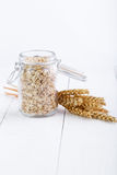 The oat flakes in glass jar and wheat. Royalty Free Stock Photos