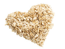 Oat flakes heart angle shot Royalty Free Stock Photos
