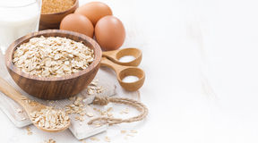 Oat flakes and ingredients, space for your text, horizontal Stock Photography