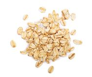 Oat flakes isolated on white background. Top view.  stock images