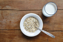 Oat-flakes with milk Royalty Free Stock Photo
