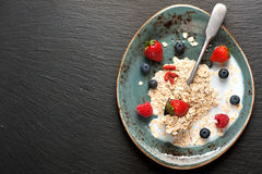 Oat flakes, milk and berries. Royalty Free Stock Photography