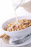 Oat flakes and milk Stock Image