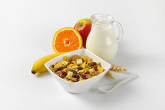 Oat flakes with milk and fruit Royalty Free Stock Photo