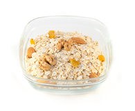 Oat flakes with nuts and raisin Royalty Free Stock Photography