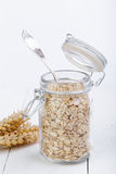 The oat flakes in opened glass jar with spoon. Stock Photo