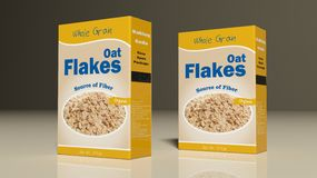 Oat flakes paper packages. 3d illustration Royalty Free Stock Images