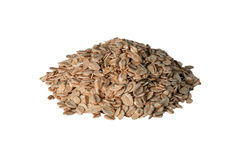 Oat flakes pile on white background stock images