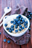 Oat flakes. Raw oat flakes in the white bowl Royalty Free Stock Photography