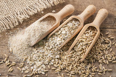 Oat flakes, seeds and bran Stock Photos