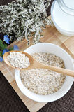 Oat flakes in spoon Stock Image