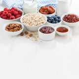 Oat flakes, various ingredients for breakfast and place for text Royalty Free Stock Photo