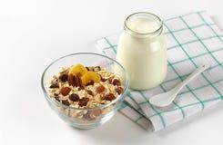Oat flakes with white yogurt Stock Images