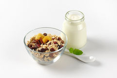 Oat flakes with white yogurt Royalty Free Stock Photo