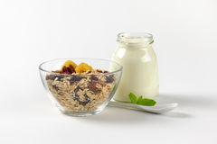Oat flakes with white yogurt Stock Photography