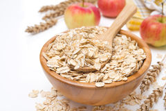Oat flakes in a wooden bowl and apples, isolated Stock Photos