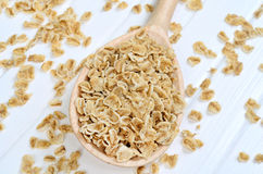 Oat flakes in wooden spoon Stock Photos