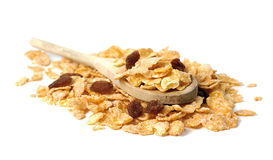 Oat flakes in the wooden spoon on white background Royalty Free Stock Image