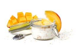 Oat flakes with yogurt Stock Photo