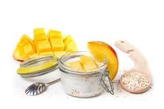 Oat flakes with yogurt and mango Royalty Free Stock Image