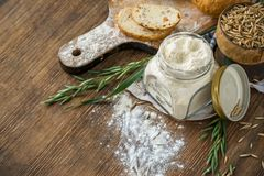 Oat flour, grain oats, oat bread on wooden Stock Photography