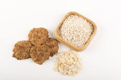 Oat meal cookies with almonds Stock Image