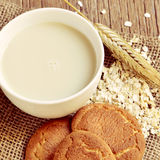Oat milk, rolled oats and digestive cookies Stock Photos