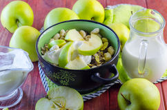 Oat muesli with apples and candied fruits Stock Photo
