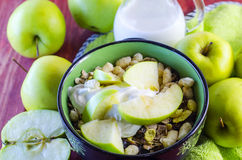 Oat muesli with apples and candied fruits Royalty Free Stock Photo