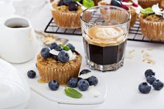 Oat muffin with coffee for breakfast Stock Image