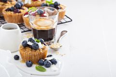 Oat muffin with coffee for breakfast Stock Photo